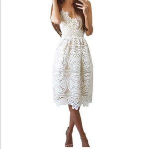 Dresses & Skirts - sleeveless Spaghetti strap V neck lace dress
